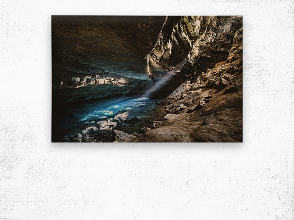 The Blue Cave Wood print