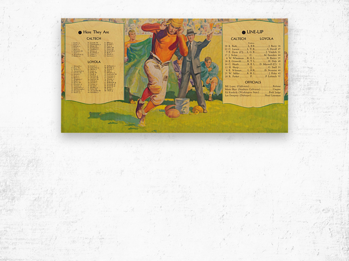 1935 college football season lineup cal tech loyola sideline art poster Wood print