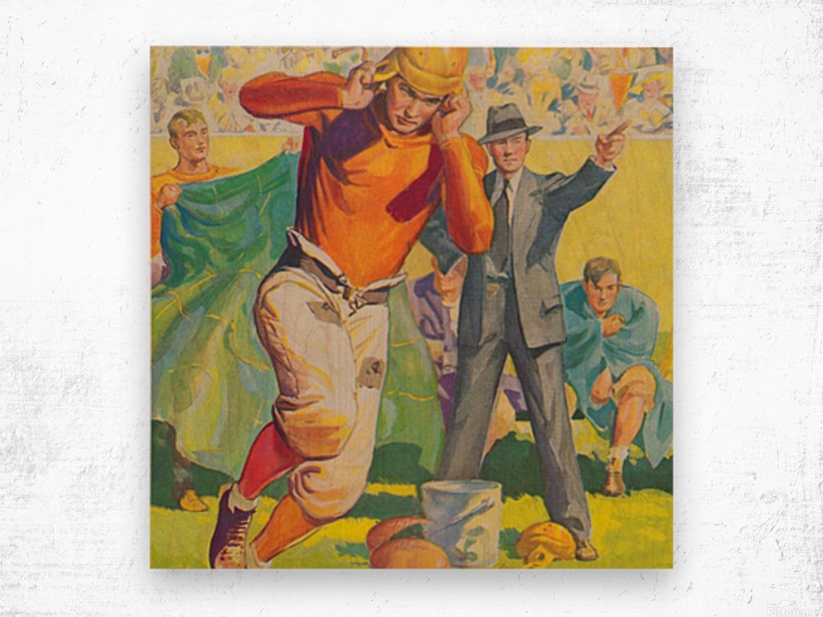football poster american vintage gridiron sideline art print Wood print