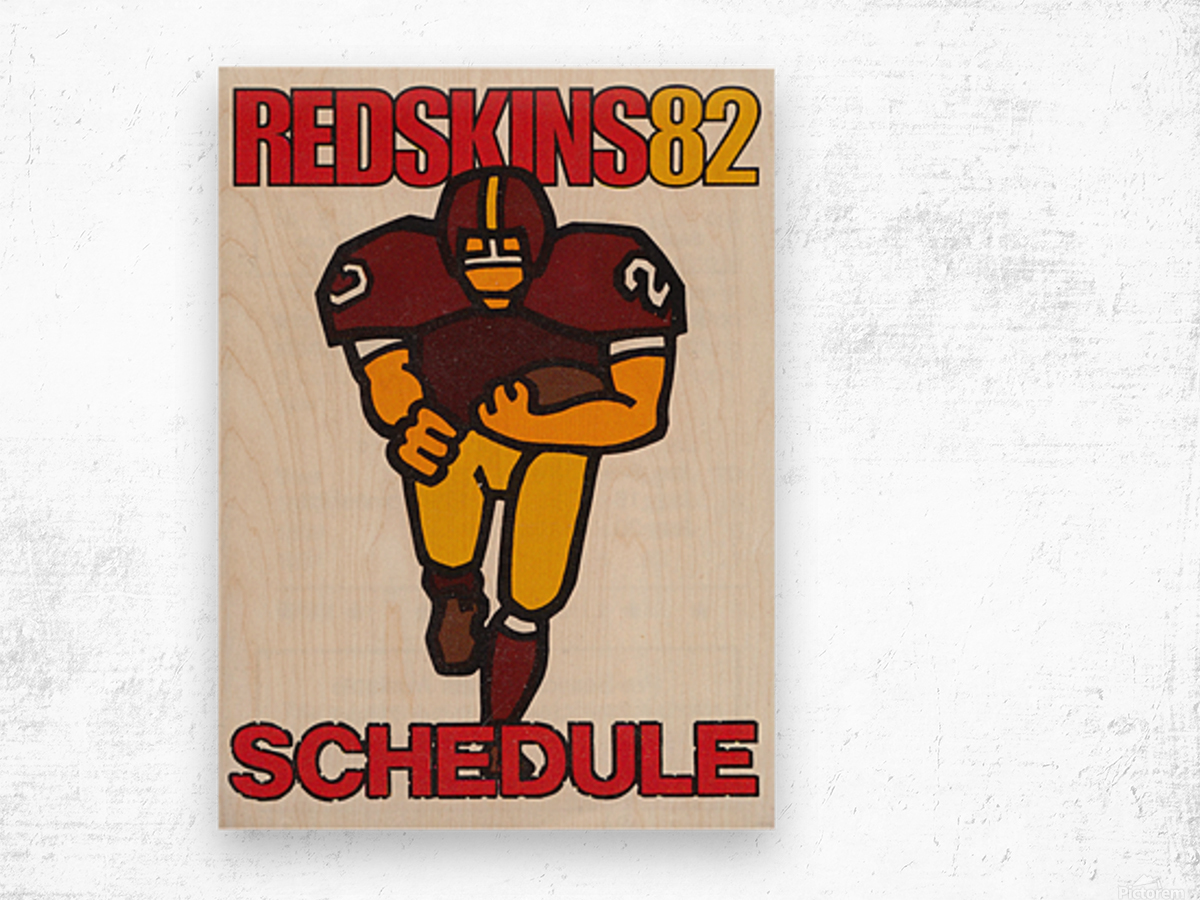 1982 Washington Redskins NFL Football Schedule Art Poster Row One Brand Wood print