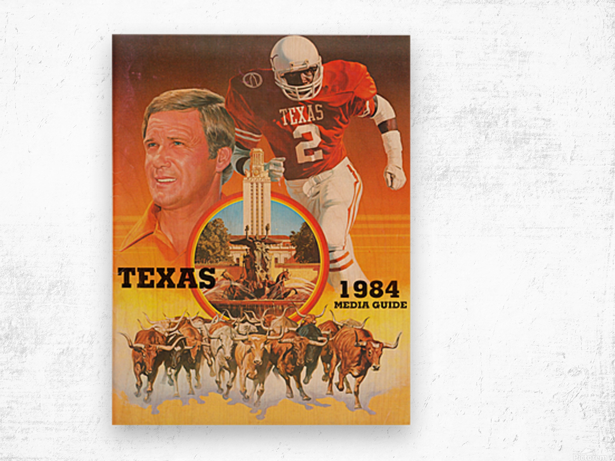 1984 Texas Longhorns Media Guide College Football Poster Wood print