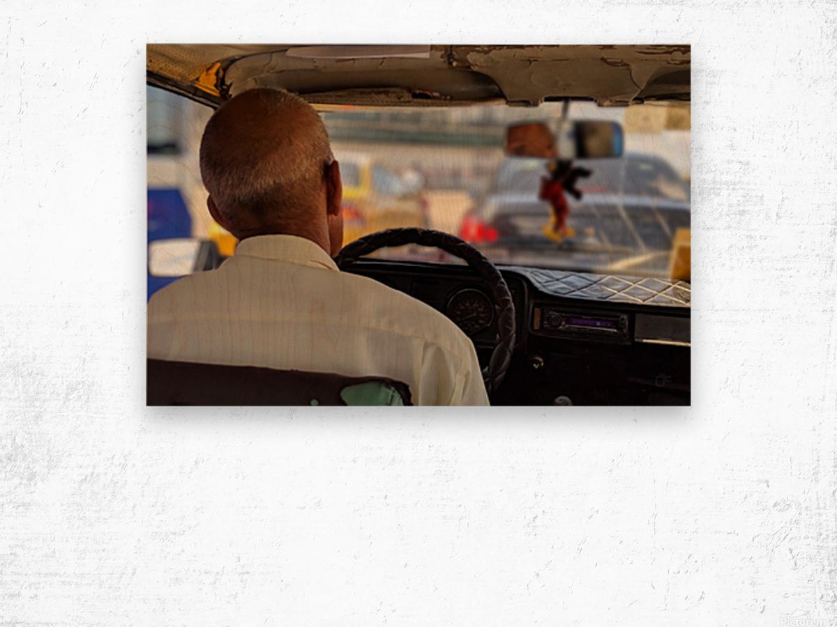Taxi driver in Cuba Wood print