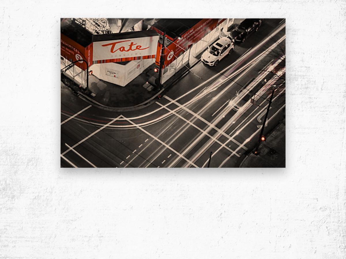 Street long exposure Wood print