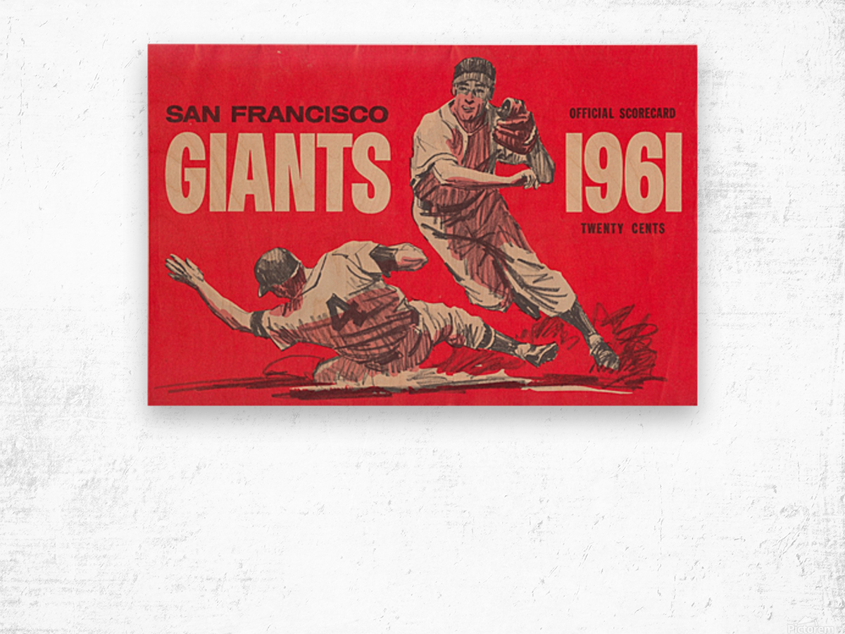 1961 San Francisco Giants Scorecard_Bay Area Home Decor Ideas Wood print