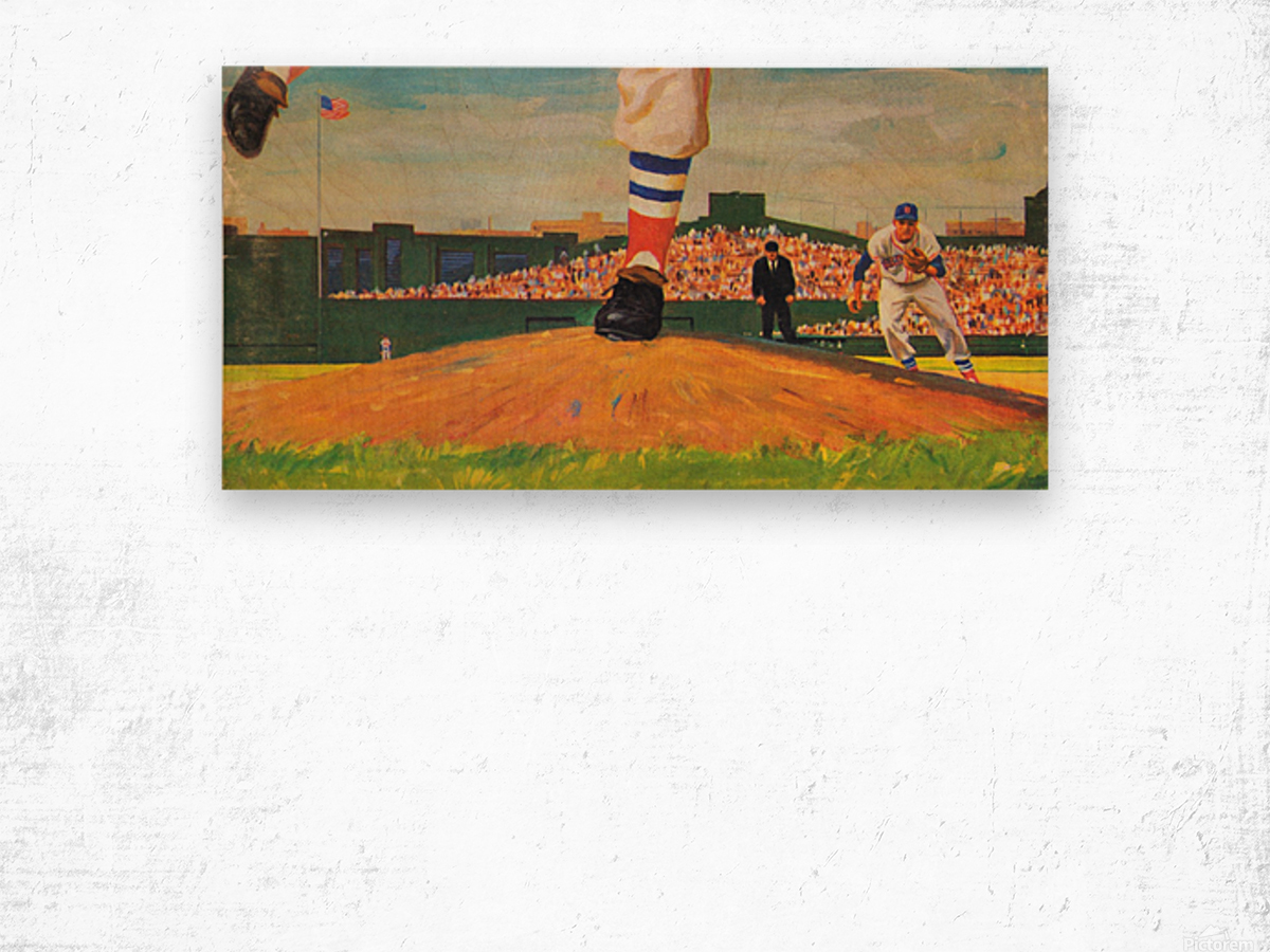 The Mound_Vintage Red Sox Baseball Art_Row One Brand Wood print