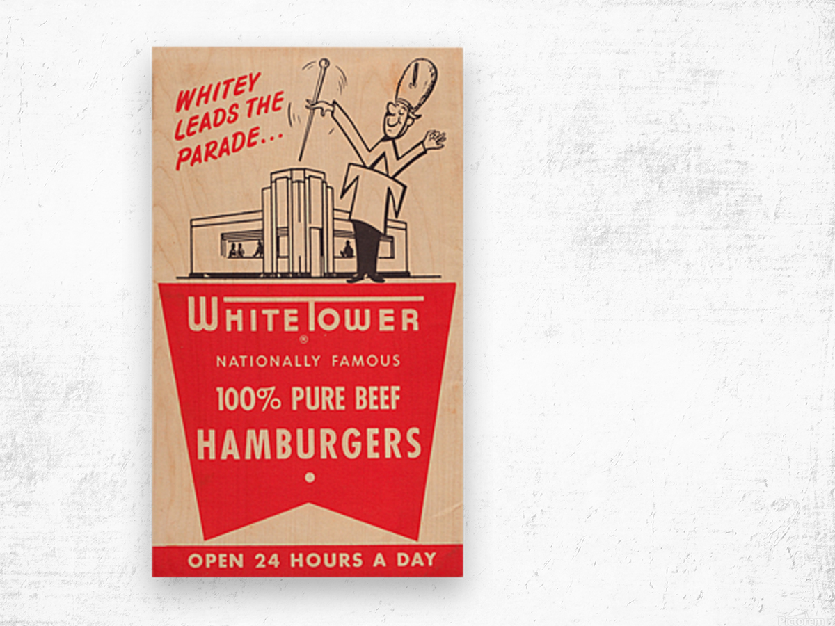 white tower hamburger ad Wood print