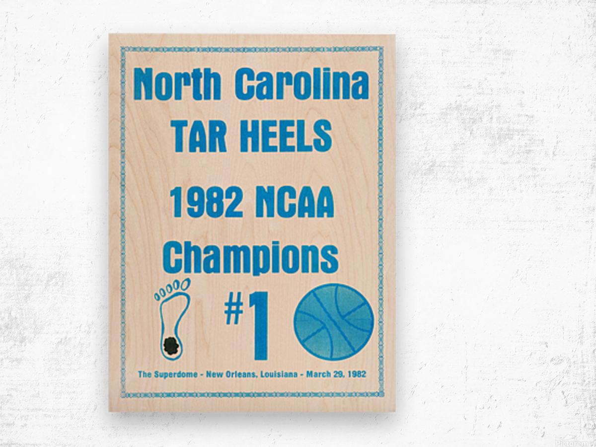 1982 North Carolina Tar Heels NCAA Champions Poster Reproduction Art Wood print