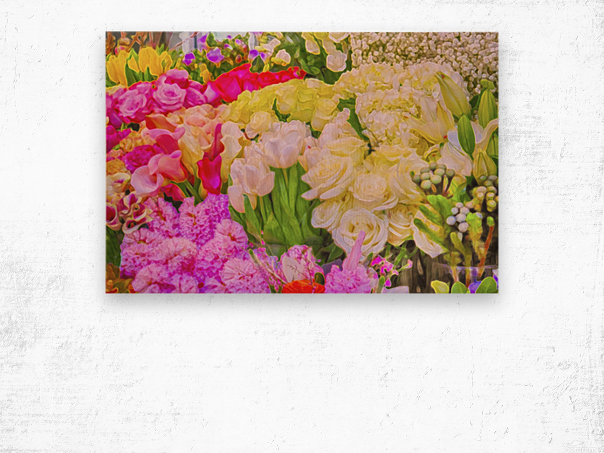 Abstract colorful flowers Wood print