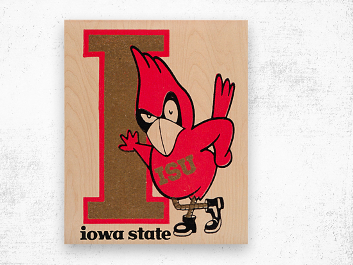Vintage Iowa State University Cyclone Poster (1) Wood print