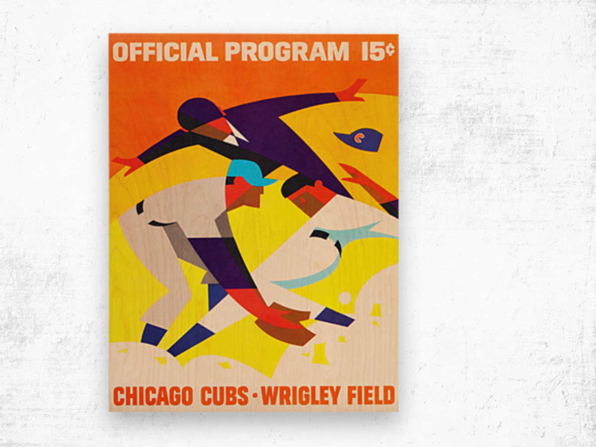 1967 Chicago Cubs Wrigley Field Program Poster_Vintage Cubs Art Wood print