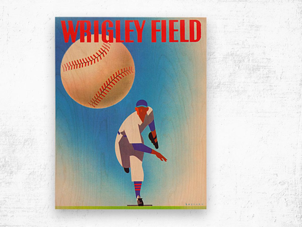 Row One Brand Wrigley Field Art Remixes_Public Domain Sports Art Remixes_Chicago Cubs Poster Wood print