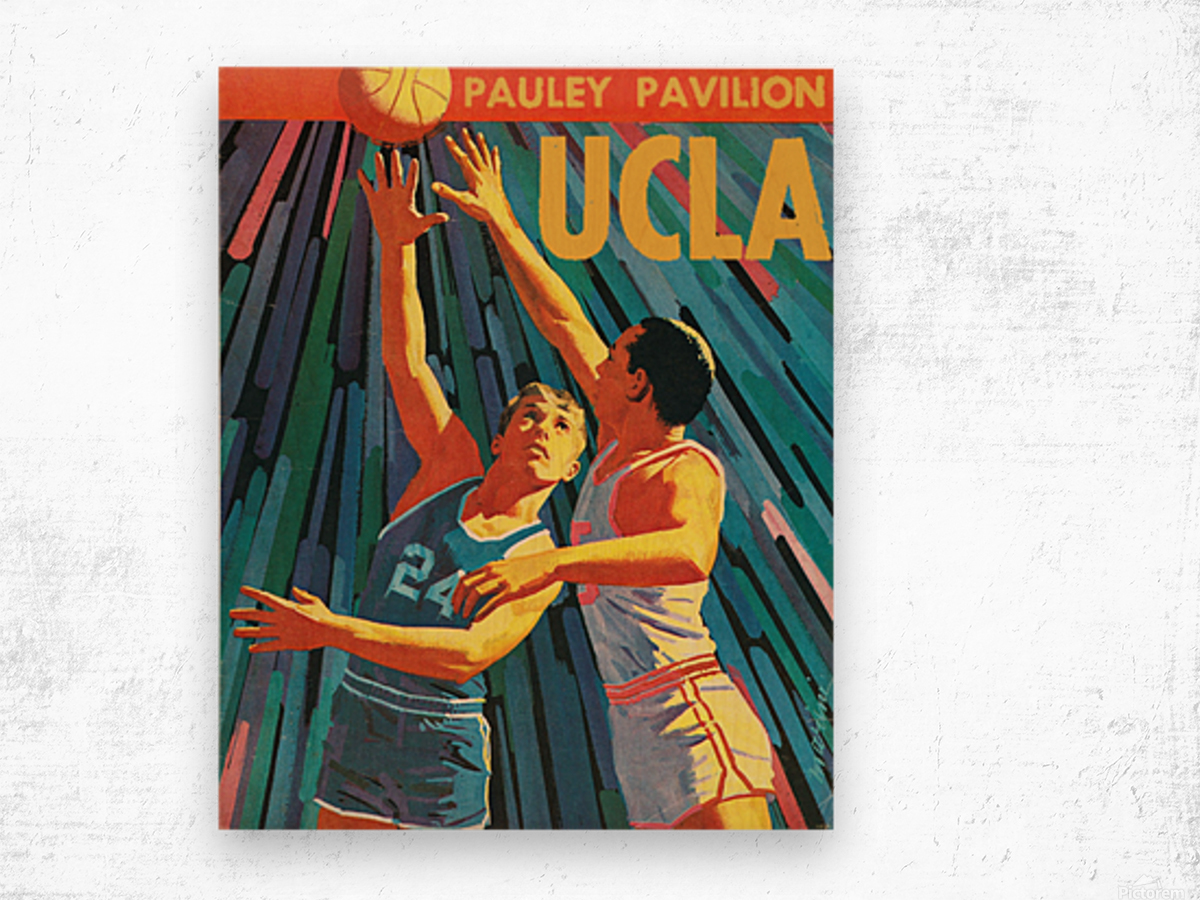 Vintage UCLA Bruins Basketball Poster Wood print