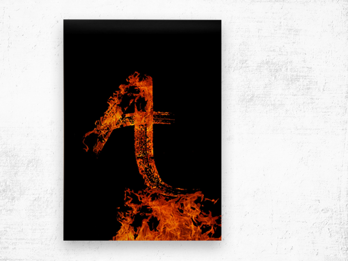 Burning on Fire Letter A Wood print