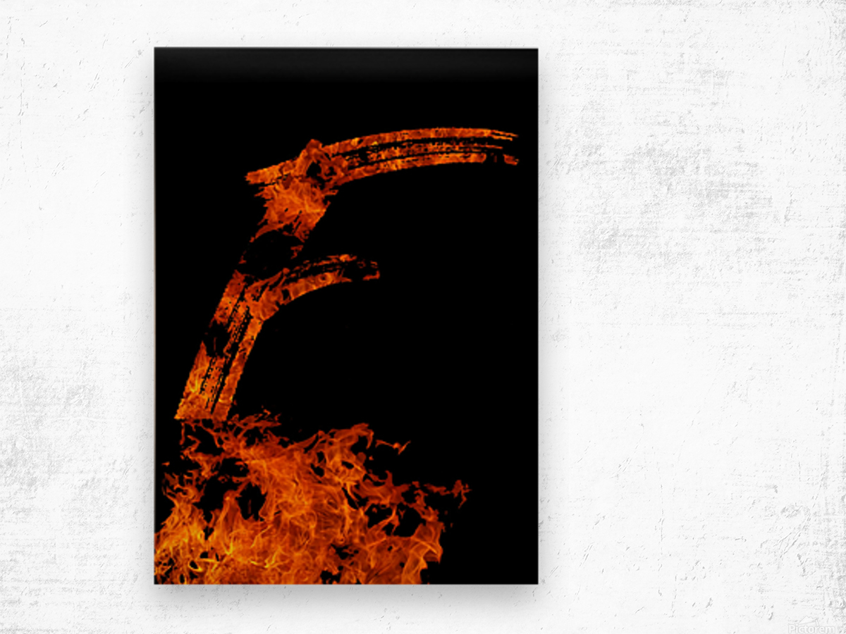 Burning on Fire Letter F Wood print