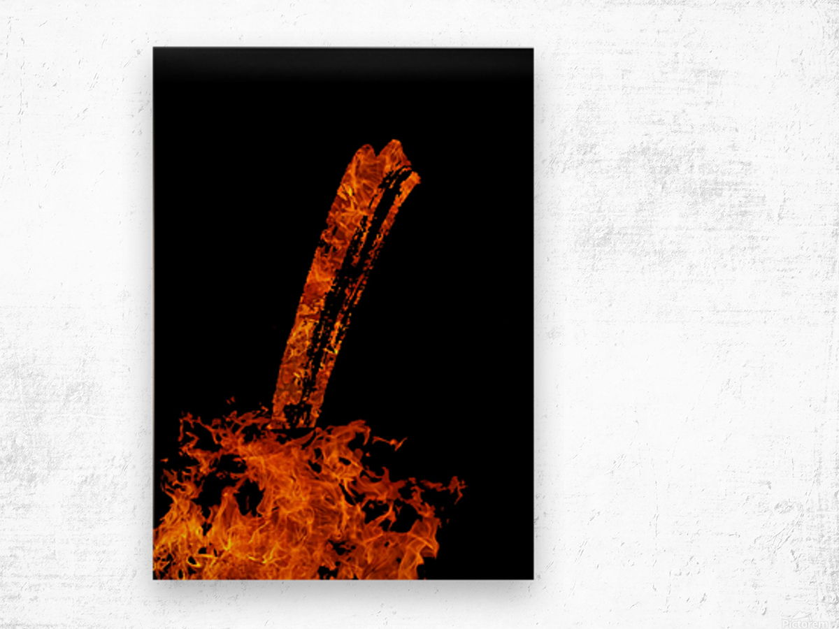 Burning on Fire Letter I Wood print