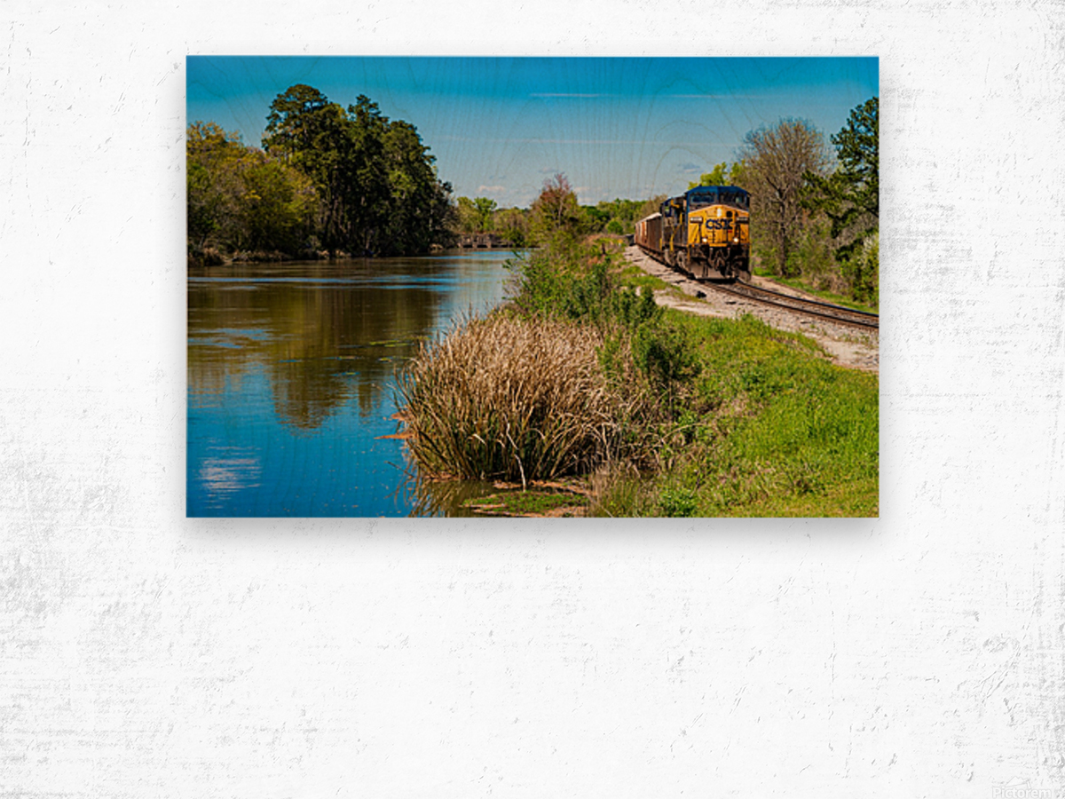 CSX Train along the Augusta Canal GA 02909 Wood print