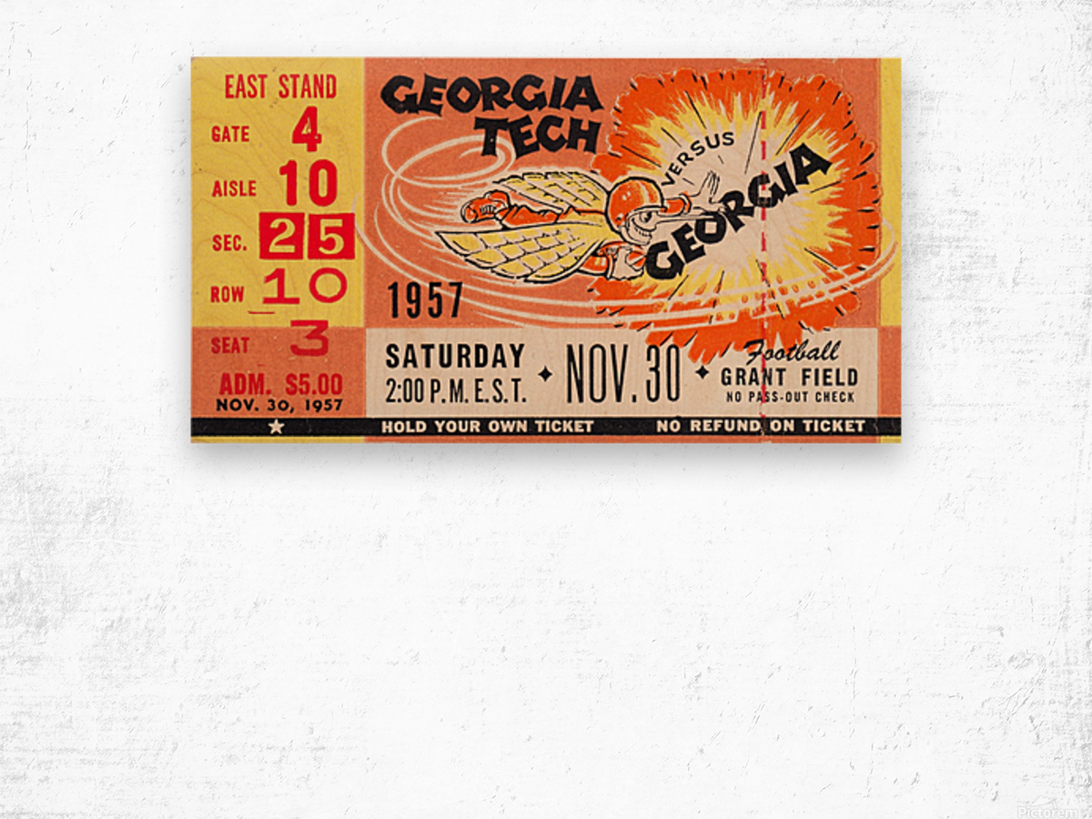 College_FootballArt_GeorgiaTechvs.Georgia_GrantField_TicketStubArt Wood print