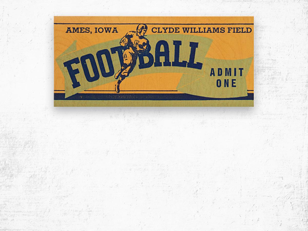 1939 Ames Football Admit One Ticket Wood print
