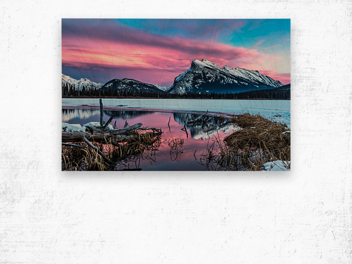 Rundle Mountain Sunset Banff National Park Wood print
