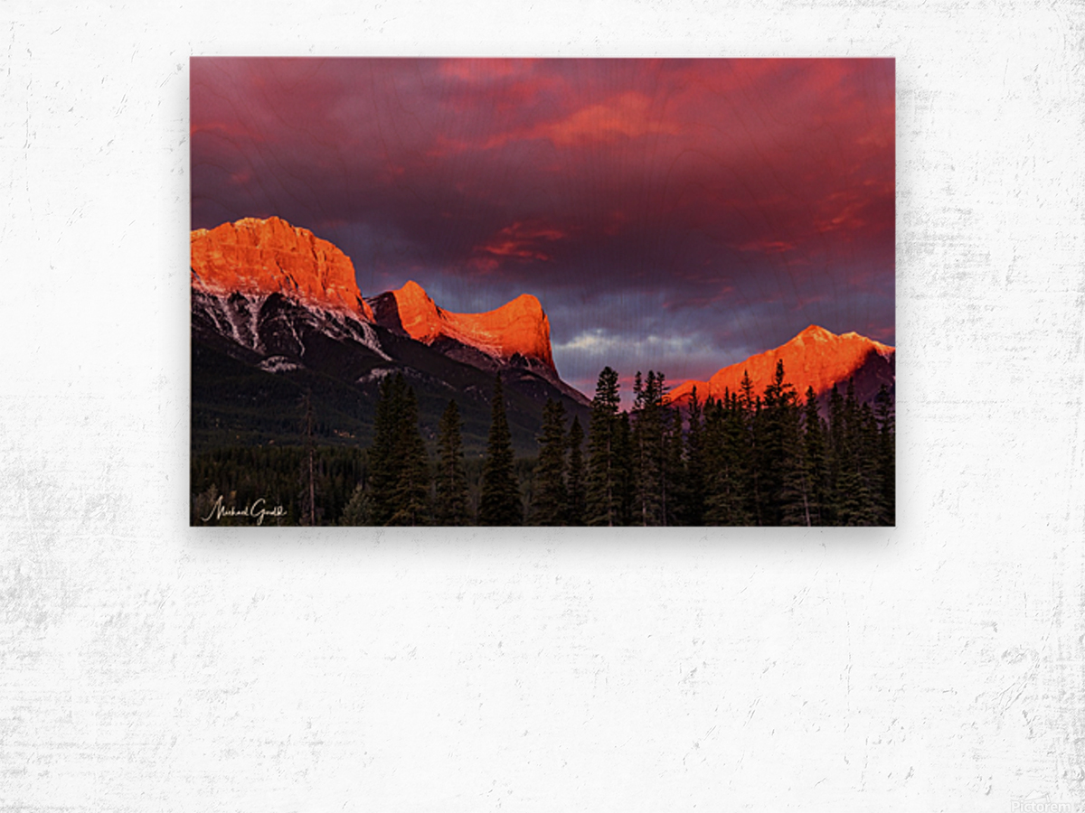 Ha Ling Mountain Range Sunrise Wood print