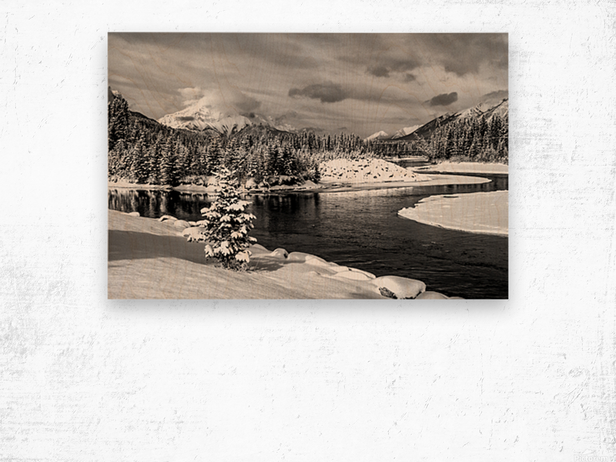 Snowy Bow River Canmore Alberta Wood print