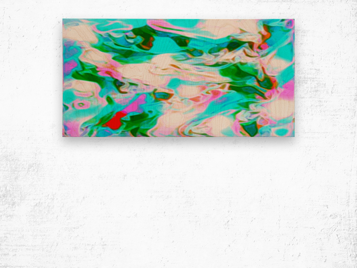 Angelic High - white blue red pink multicolor swirl abstract wall art Wood print