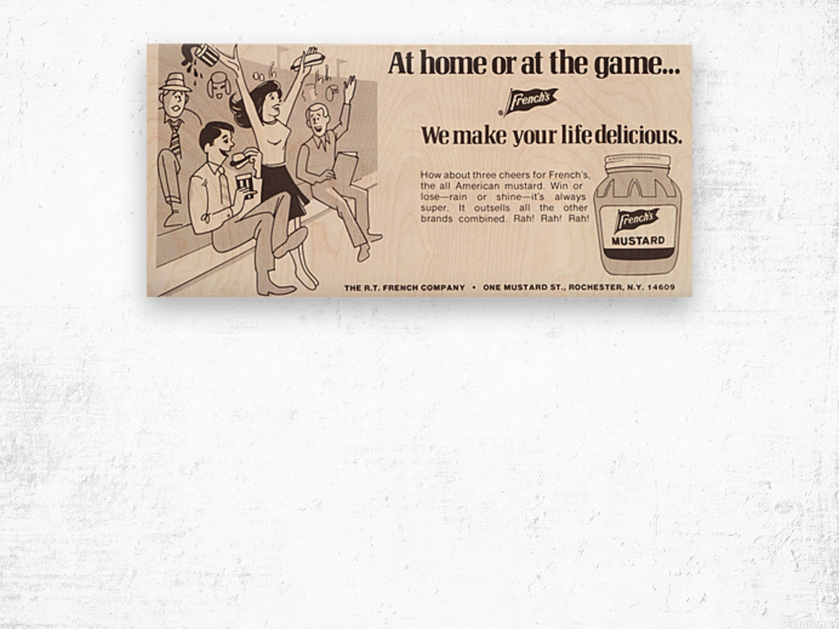 vintage frenchs mustard ad retro food advertisements poster print metal sign wood art Wood print