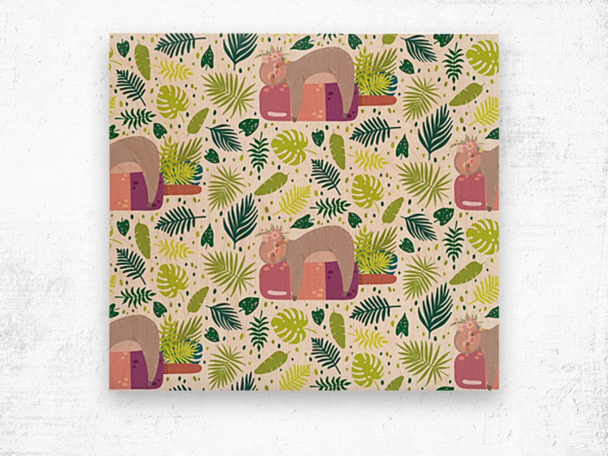 cute sloth sleeping ice cream surrounded by green tropical leaves Wood print