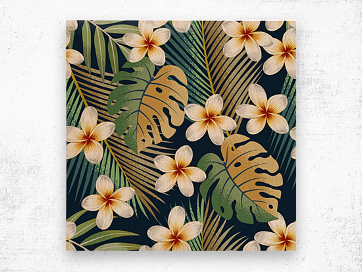 seamless pattern with tropical strelitzia flowers leaves exotic background_ Wood print