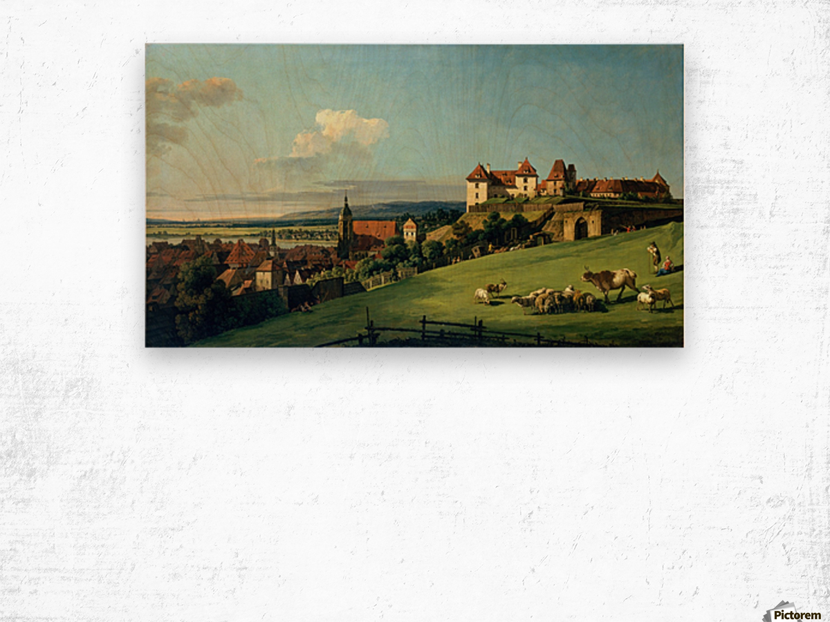 View of Pirna from the Sonnenstein Castle, c. 1750 Wood print