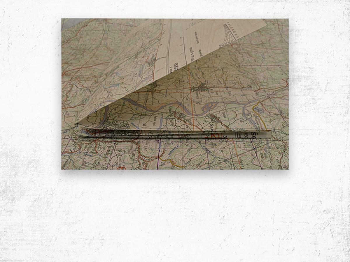 map navigation orientation drawing geography Wood print