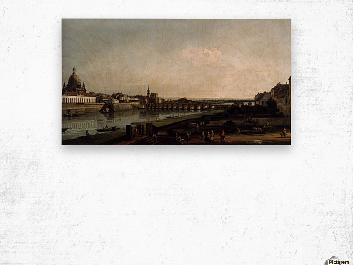Dresden from the Right Bank of the Elbe, above the Augustusbrucke Wood print