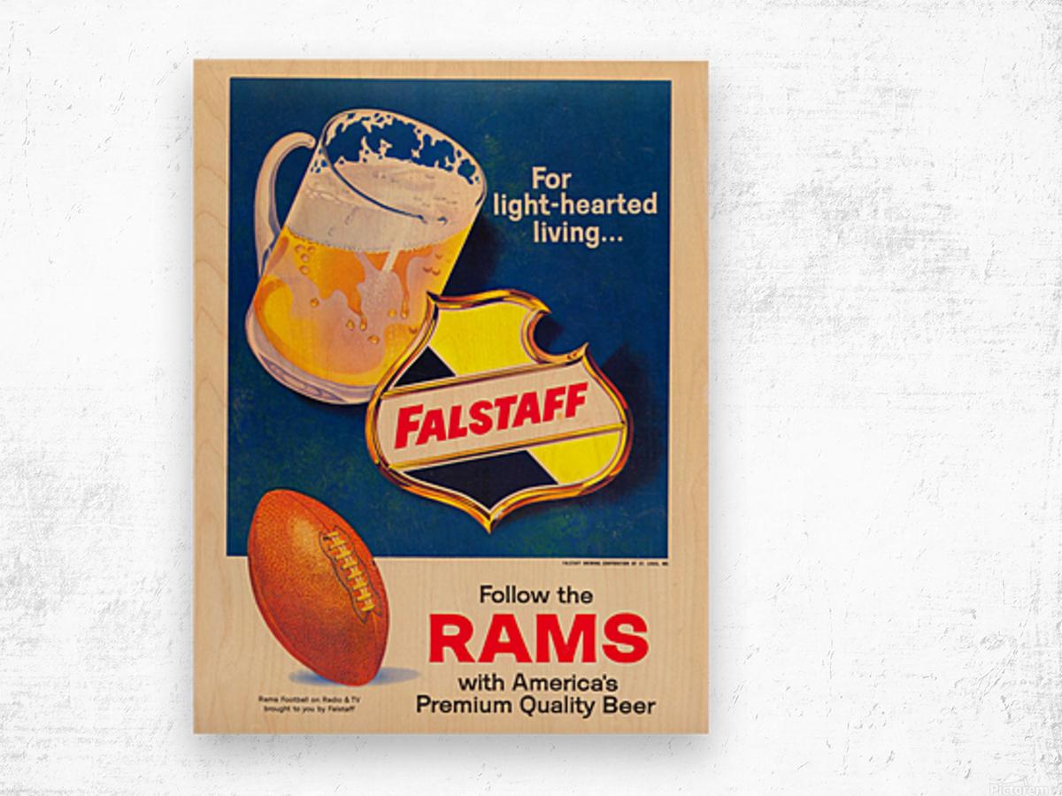 vintage falstaff beer ad poster la rams retro football metal sign Wood print