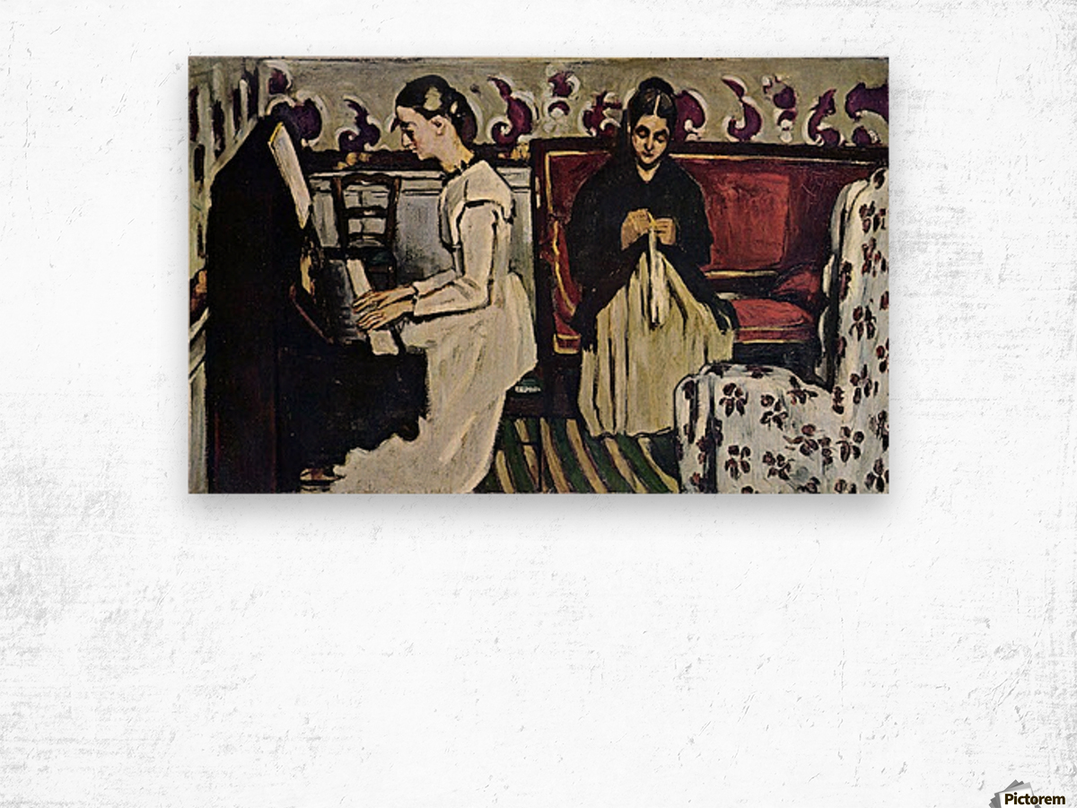 Girl at Piano by Cezanne Wood print