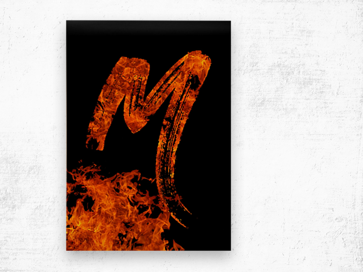 Burning on Fire Letter M Wood print