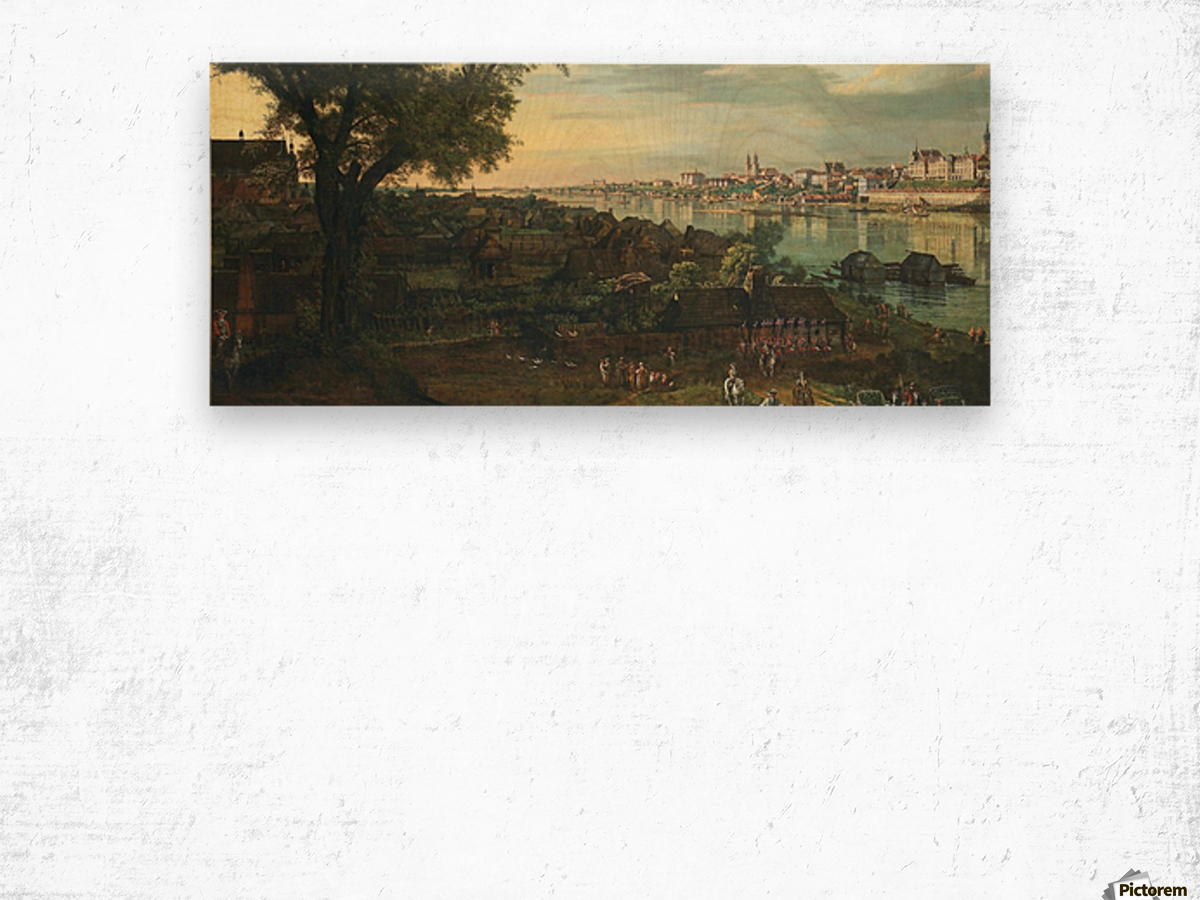 View of Warsaw from Prague Wood print