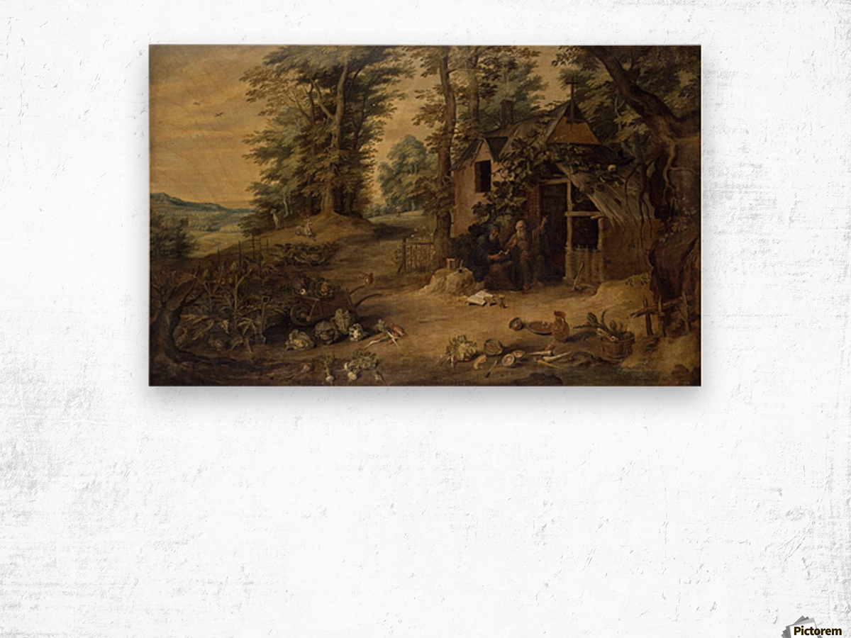 Landscape with Homestead Wood print