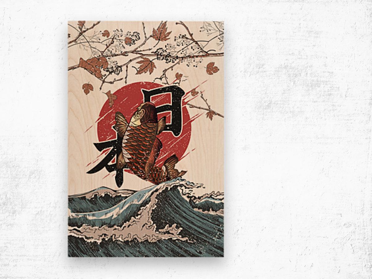 Koi fish fly waves Wood print