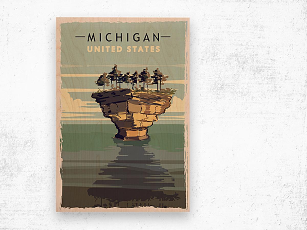 michigan retro poster usa michigan travel illustration united states america Wood print