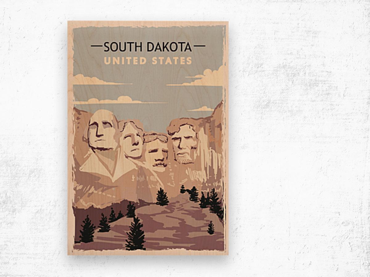 south dakota retro poster usa south dakota travel illustration united states america Wood print