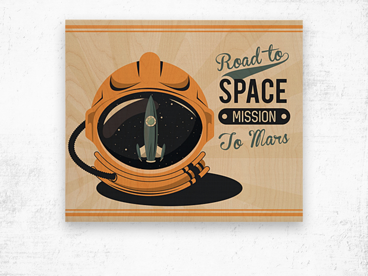 Life space vintage poster with set scenes Wood print