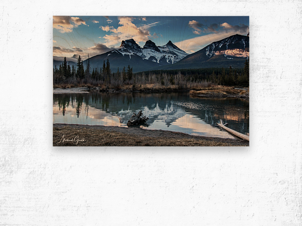 Three Sisters Canmore  Wood print