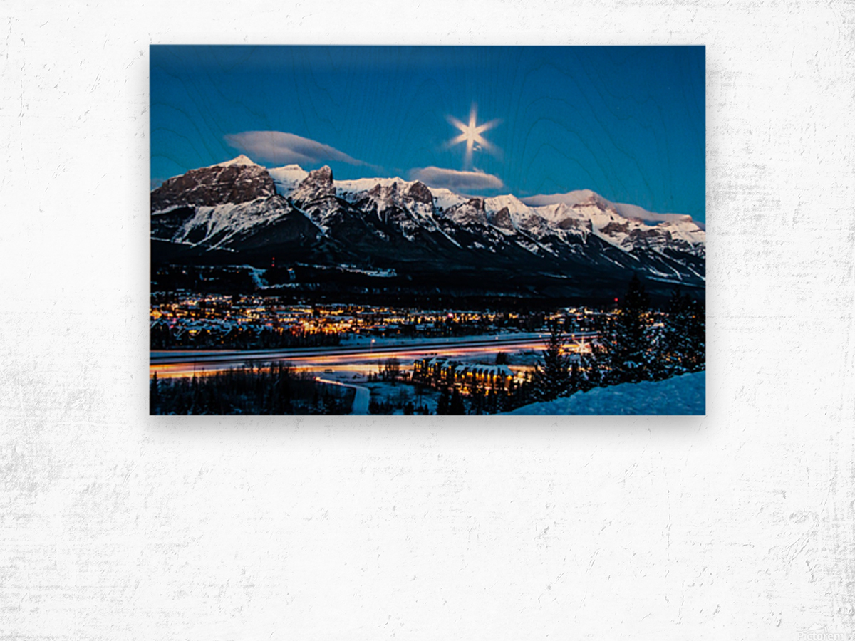 Canmore Morning Moon Over Rundle Mountain Wood print