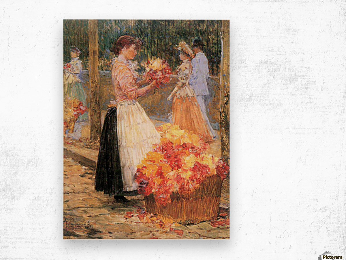 Woman sells flowers by Hassam Wood print