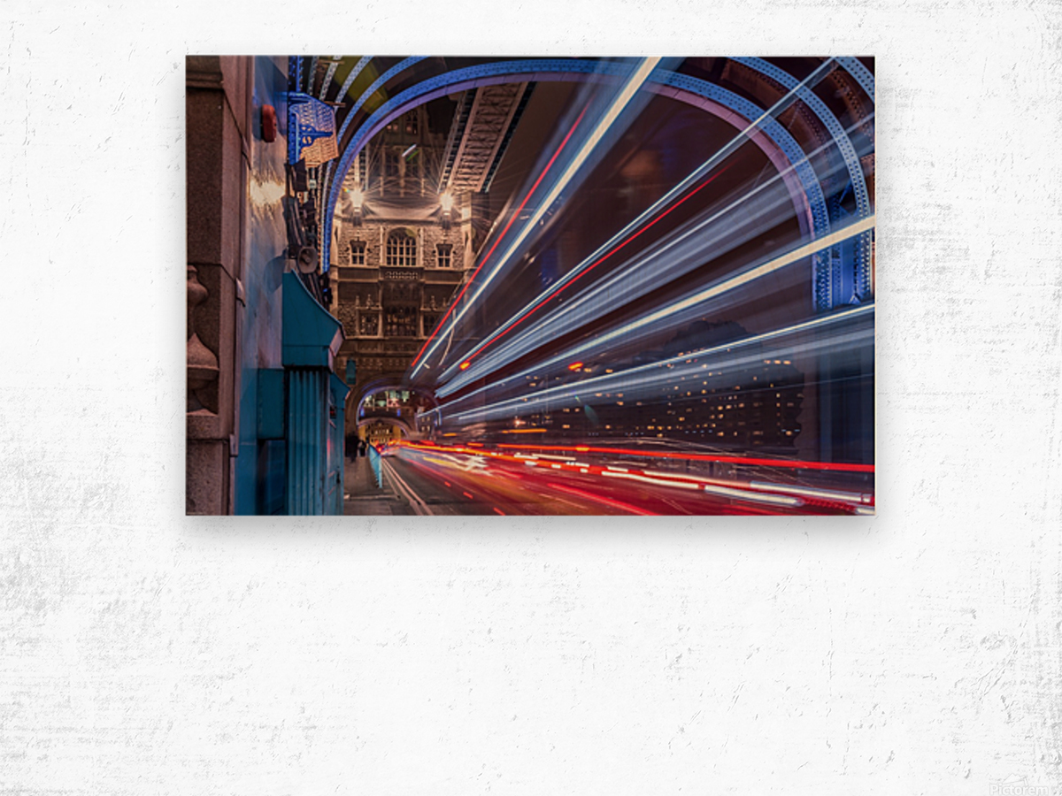 Light trails along Tower Bridge London Wood print
