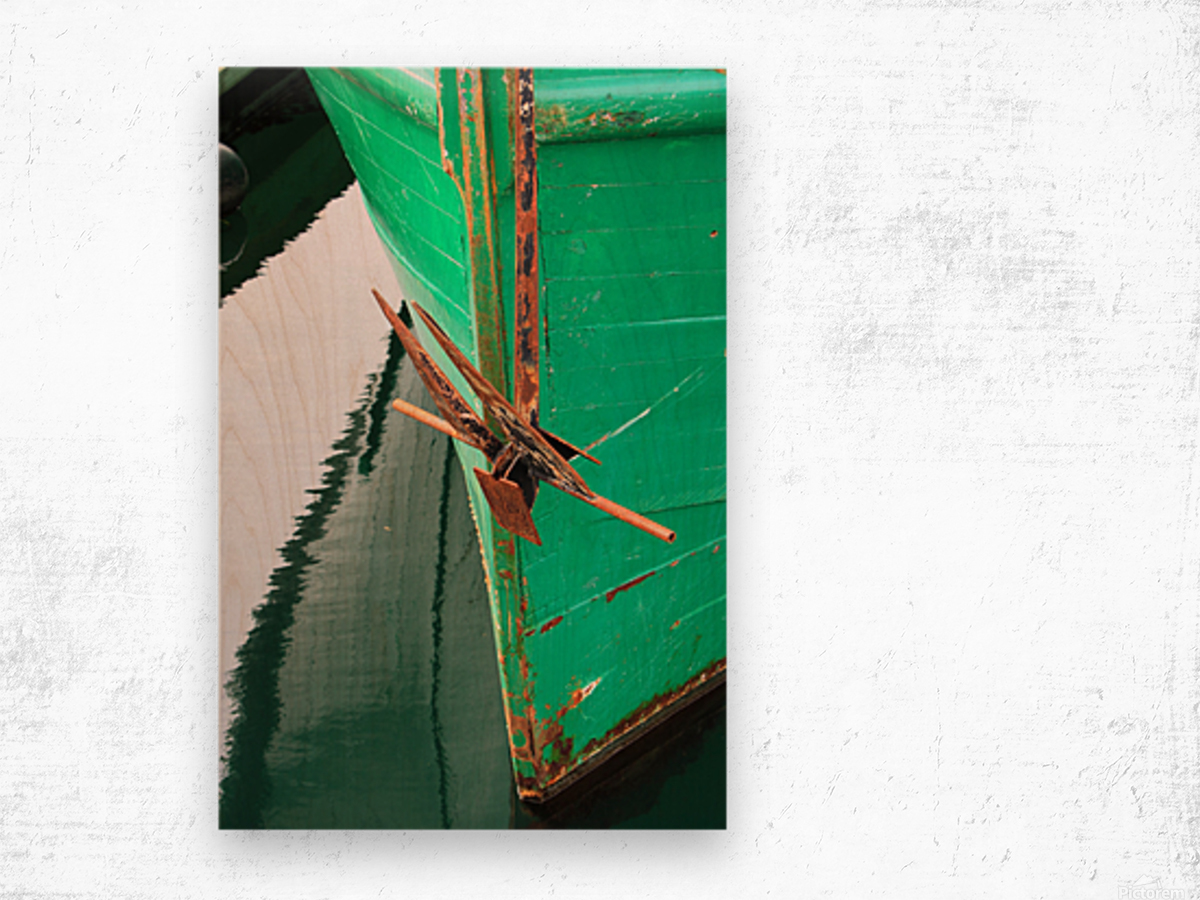 Green Fishing Boat and Anchor In Harbour Wood print