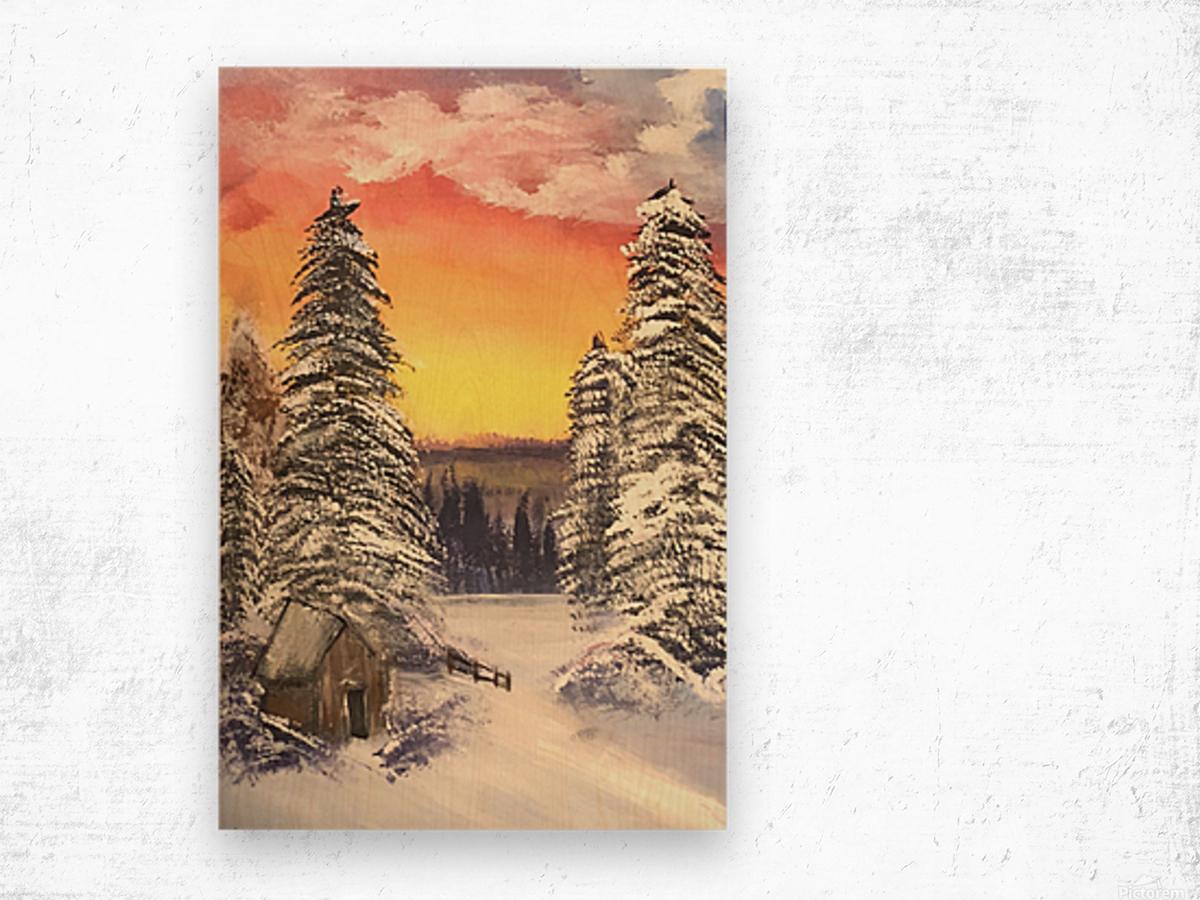 Snow At Sunset Wood print
