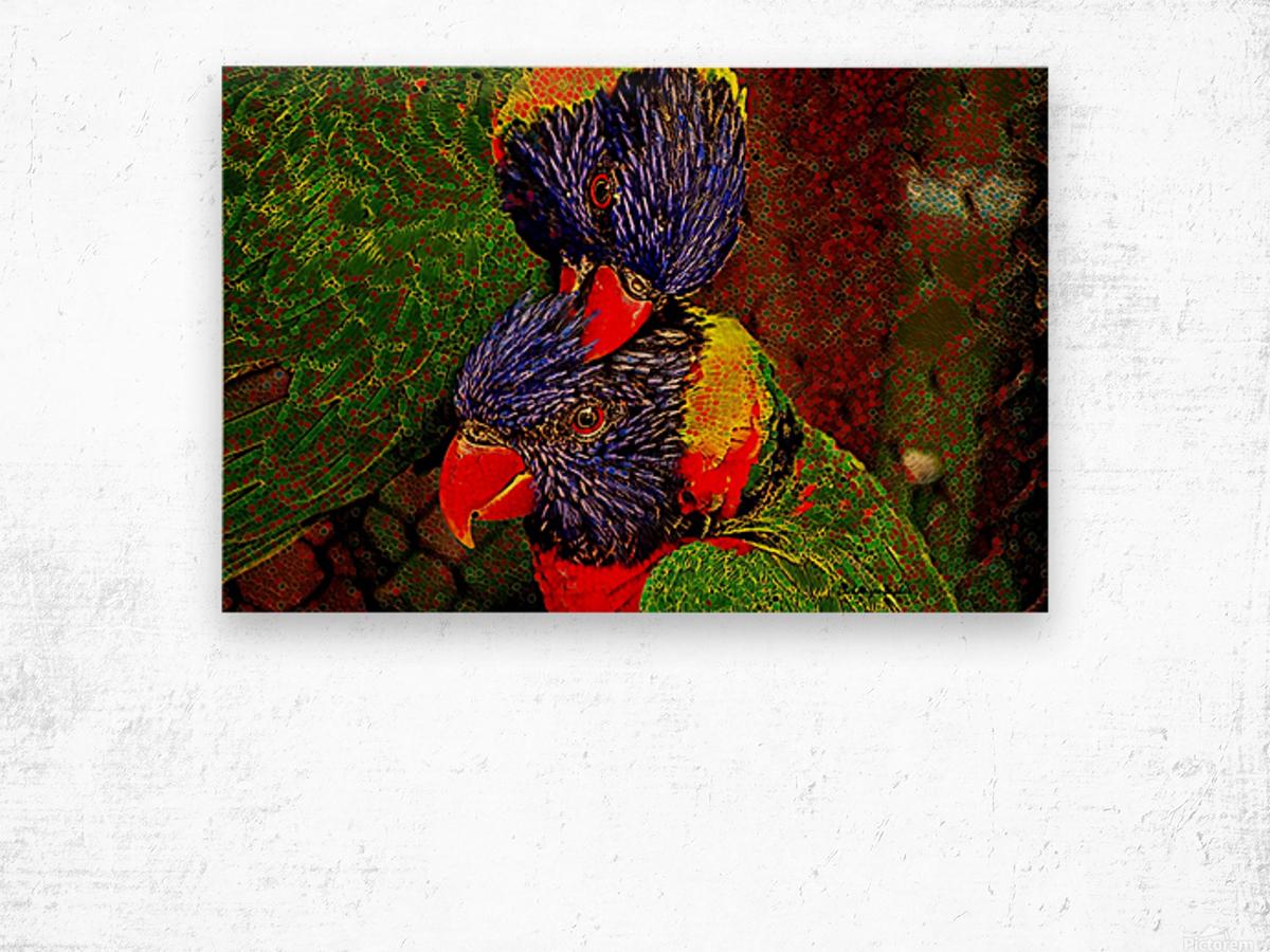 Lovebirds Wood print
