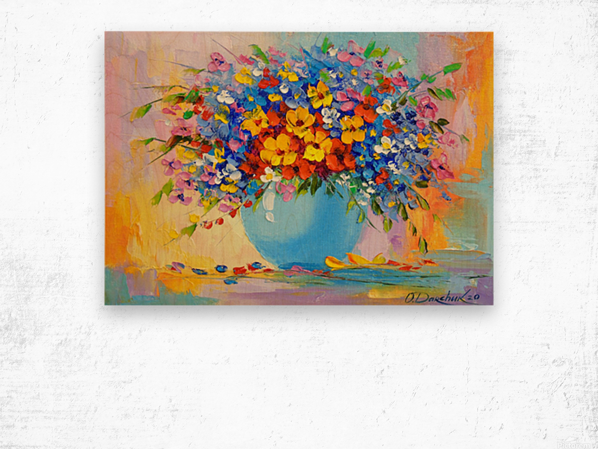 A bouquet of bright flowers Wood print