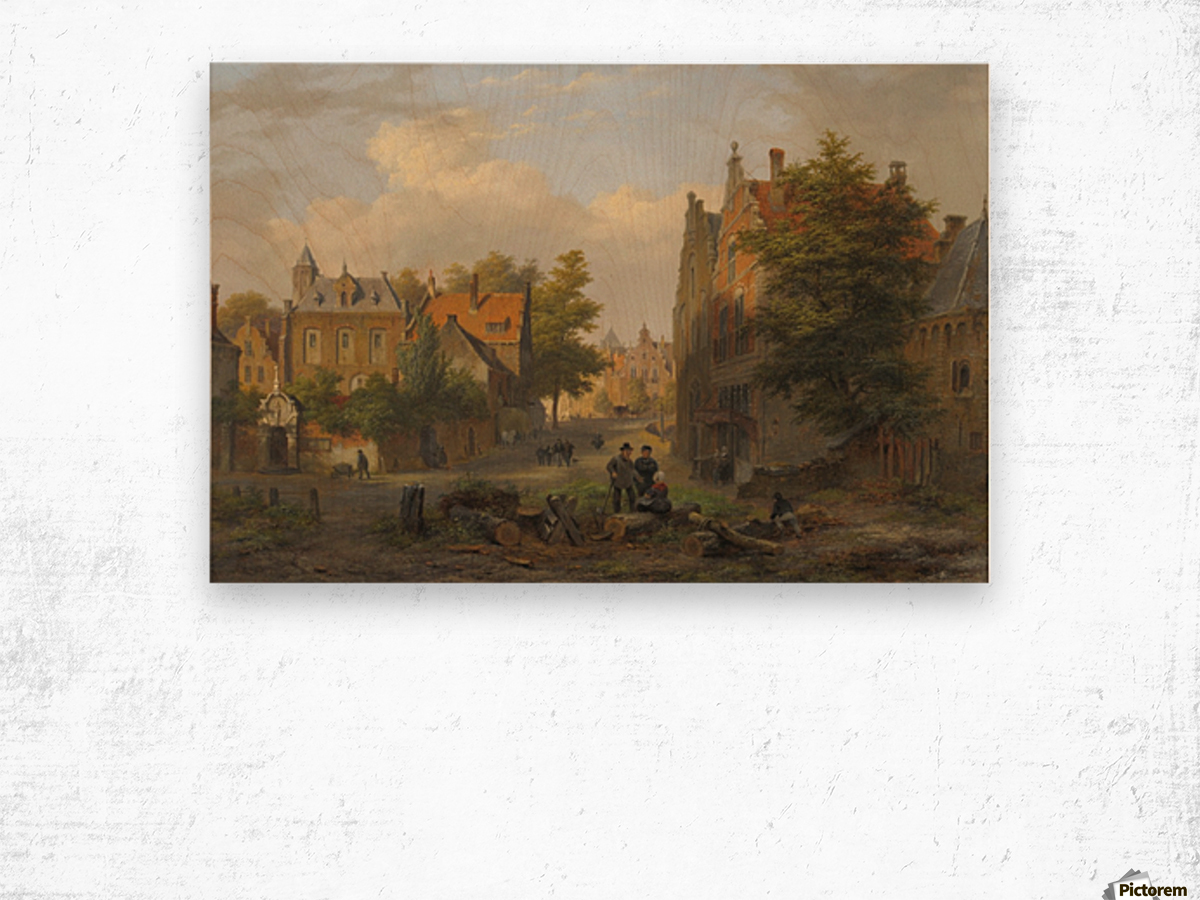 View of a town with figures in conversation Wood print